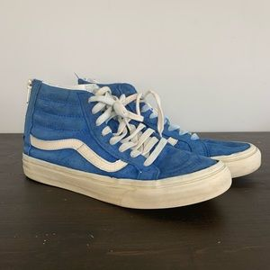 Vans high top blue and white sneakers